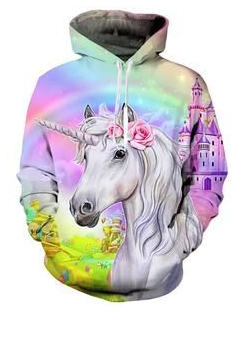 Castle unicorn Hoodie Coloring Page