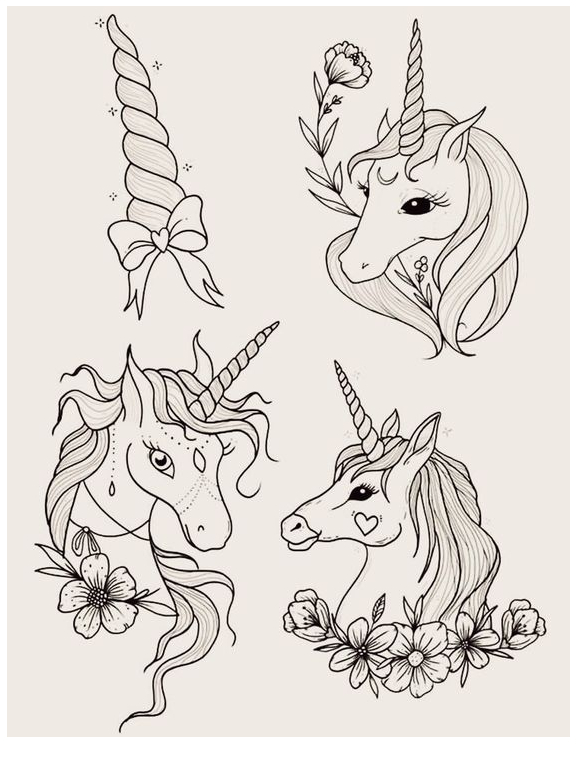 Unicorn Head Black And White Coloring Page