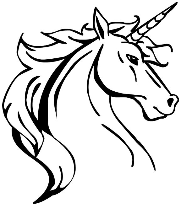 Unicorn Head With Horn Coloring Page