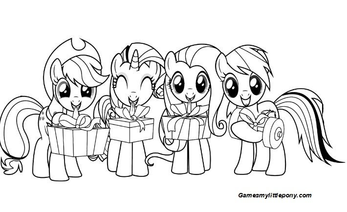 Cute My Little Pony With Gifts Coloring Page