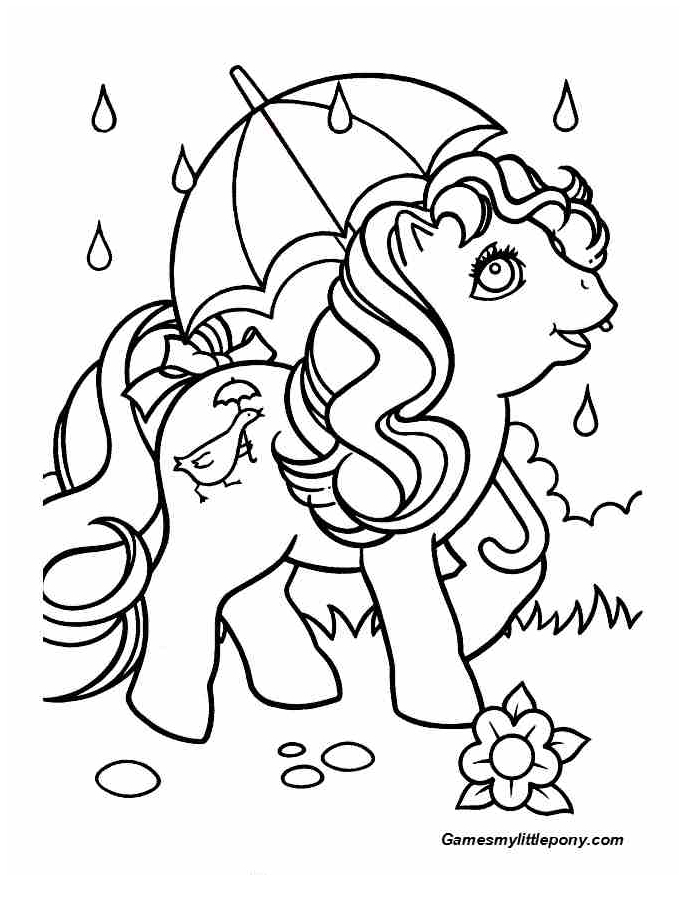 Pony With Umbrella  from My Little Pony Coloring Page