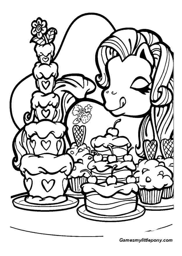Pony Likes Sweets  from My Little Pony Coloring Page