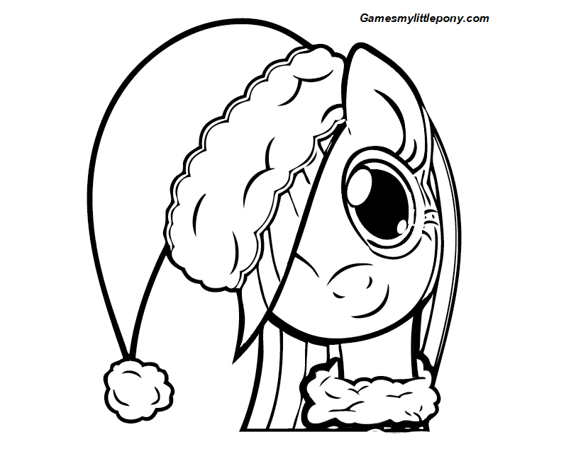 Pony Girl with Nice Christmas Hat Coloring Page