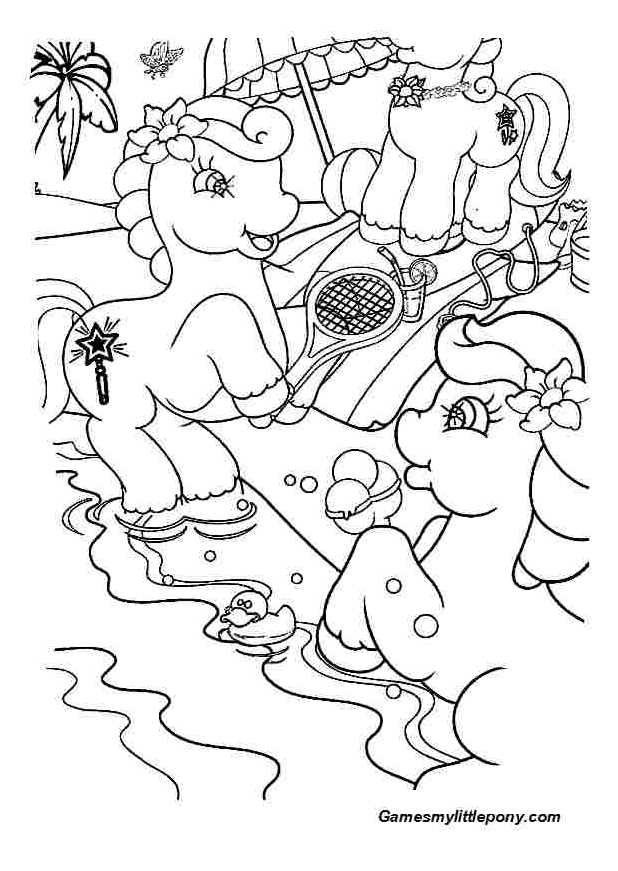 Ponies are Playing Tennis  from My Little Pony Coloring Page