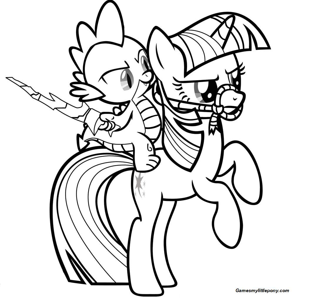 Spike and Rainbow Dash Pony Coloring Page