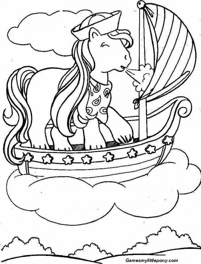 My Little Pony on the Boat Coloring Page