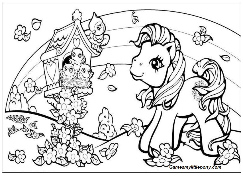 Flower Garden with My Little Pony Coloring Page