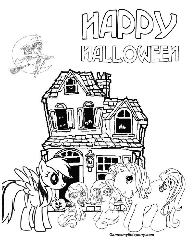 Happy Halloween Pony Coloring