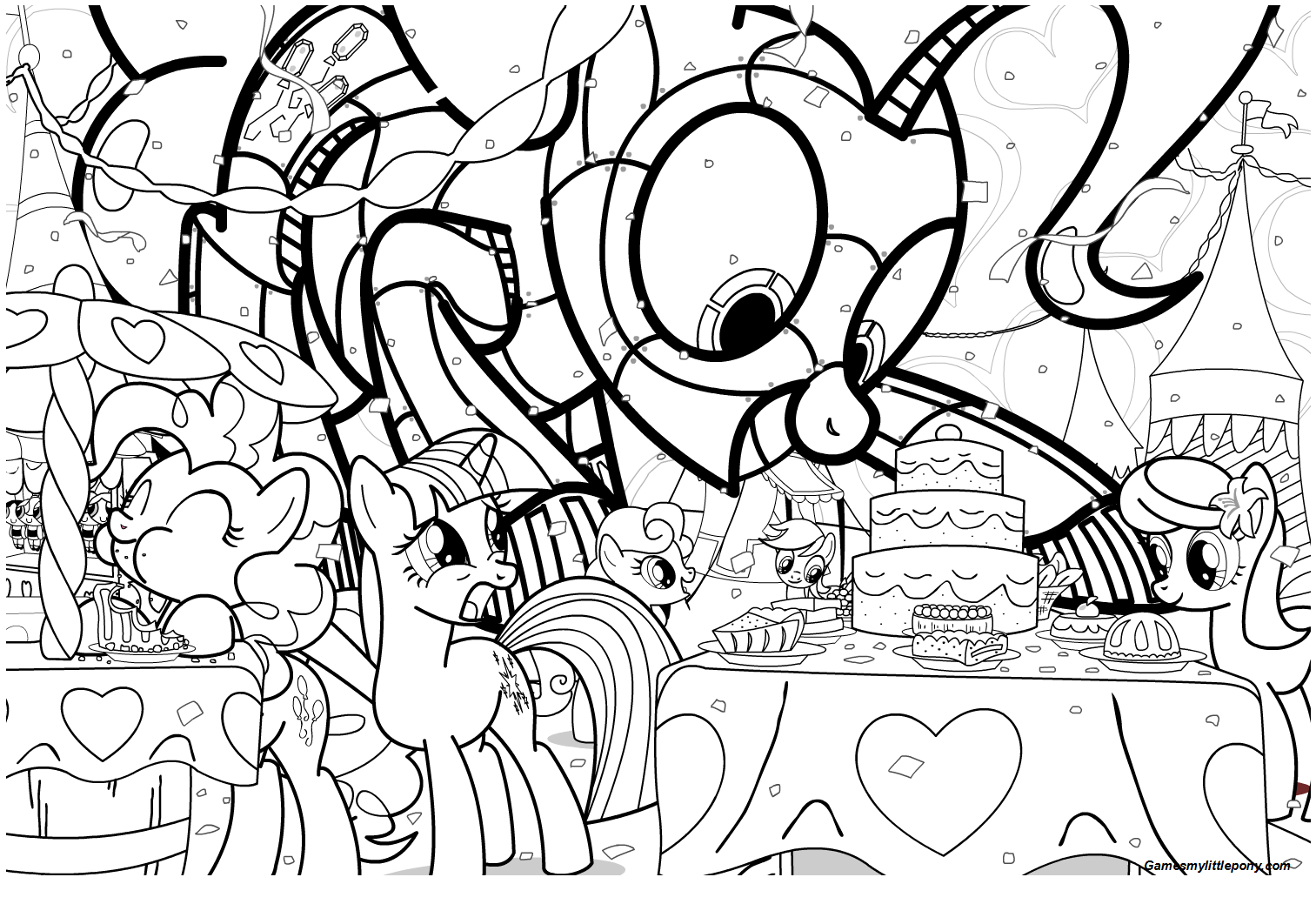 MLP Family Birthday Coloring Page