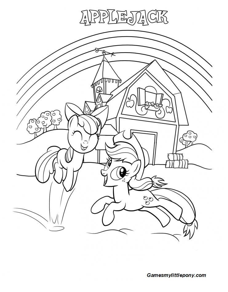 Coloring book My Little Pony: Applejack and Applebloom  Coloring Page