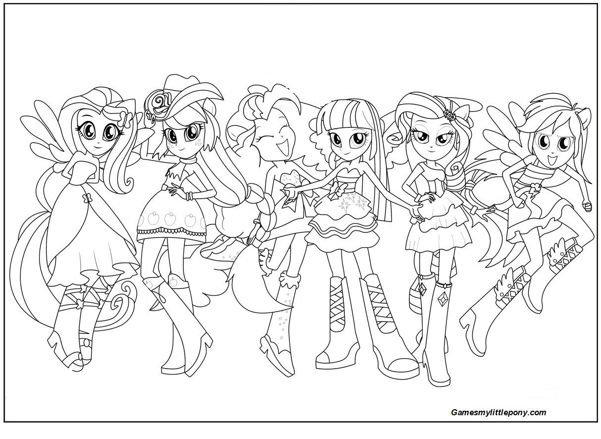 Equestria Girls Rainbow Rocks Coloring Page