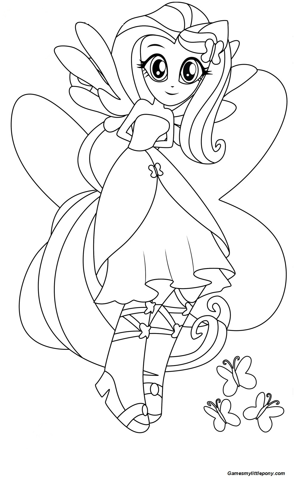 Equestria Girls Fluttershy Coloring Page