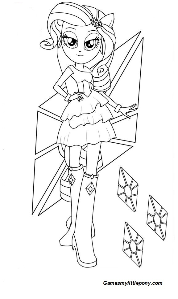 Equestria Girls Rarity Coloring Page My Little Pony