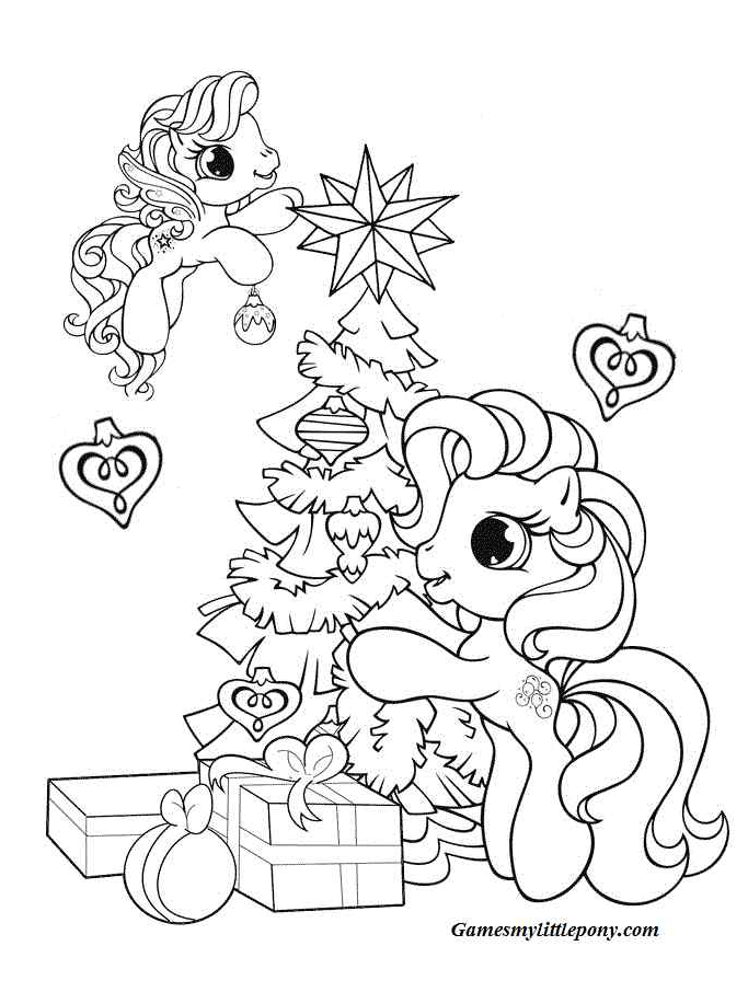Pony Coloring Pages Christmas Coloring Page