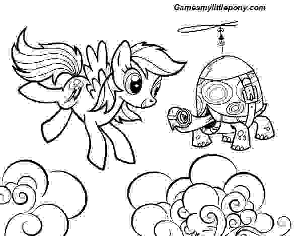 MLP Rainbow Dash and Tank Turtle Coloring Page