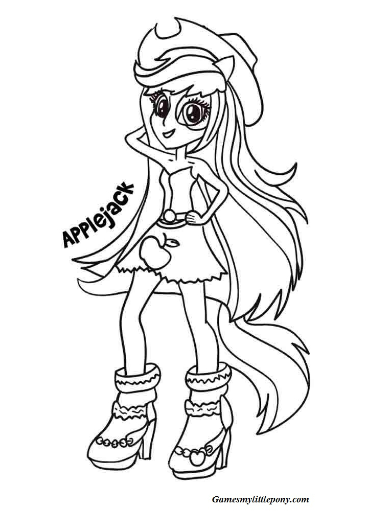Applejack Equestria Fashion Coloring Page