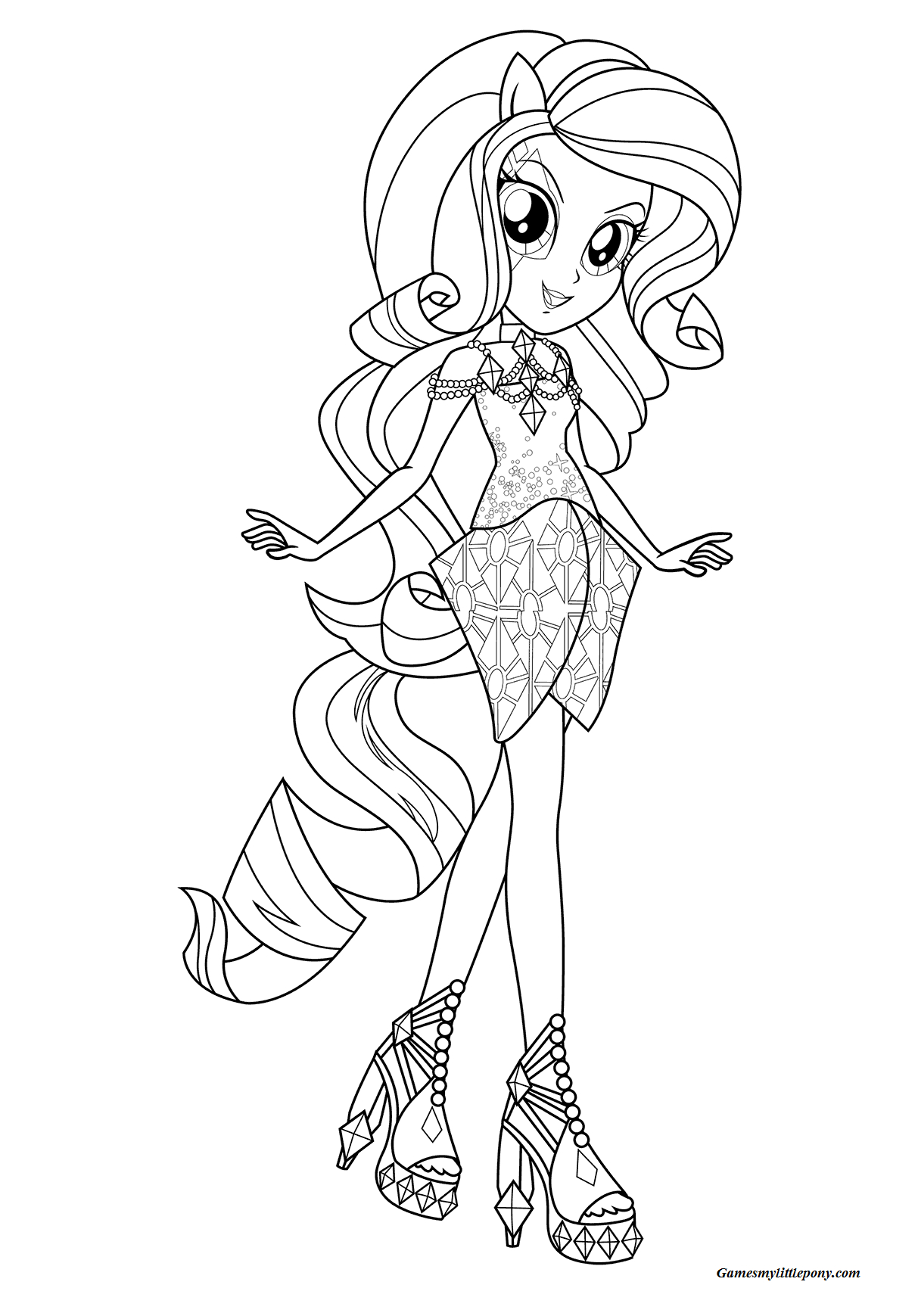 Beautiful Equestria Pony Coloring Page