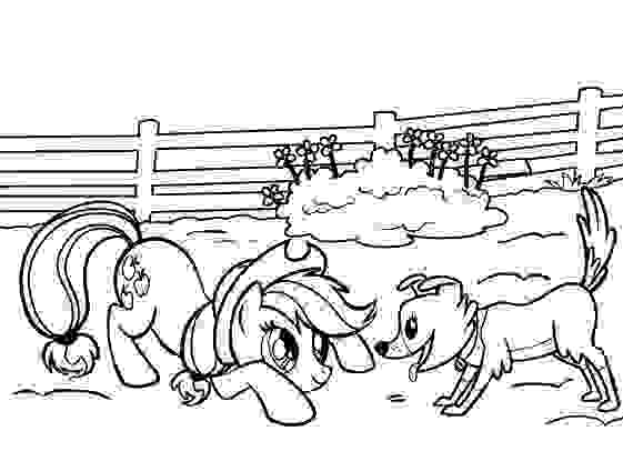 Applejack frolic with Winona Coloring Page