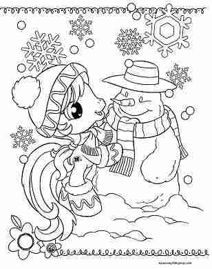 Rainbow Dash Happy Christmas Coloring Page