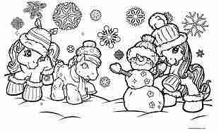Mittens Makes Snow Christmas for My Little Pony Coloring Page