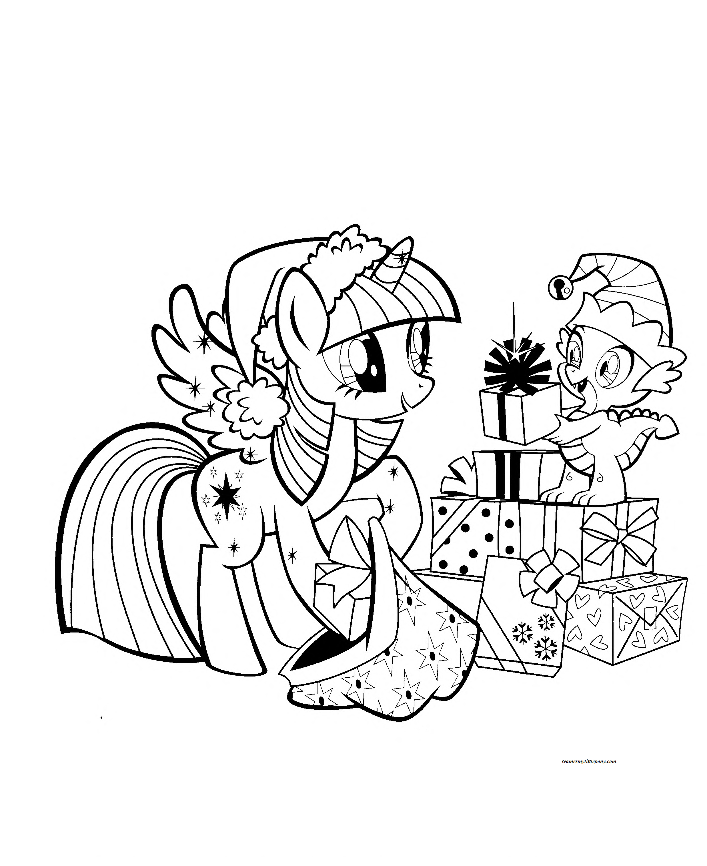 Twilight Sparkle Christmas Coloring Page