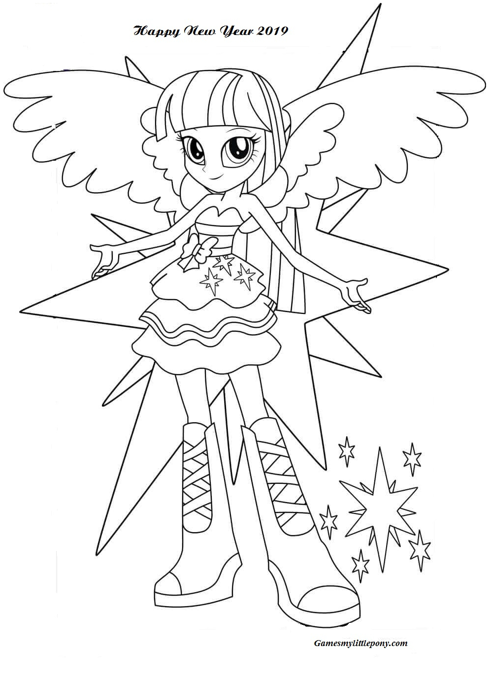 Twilight Sparkle Happy New Year Coloring Page