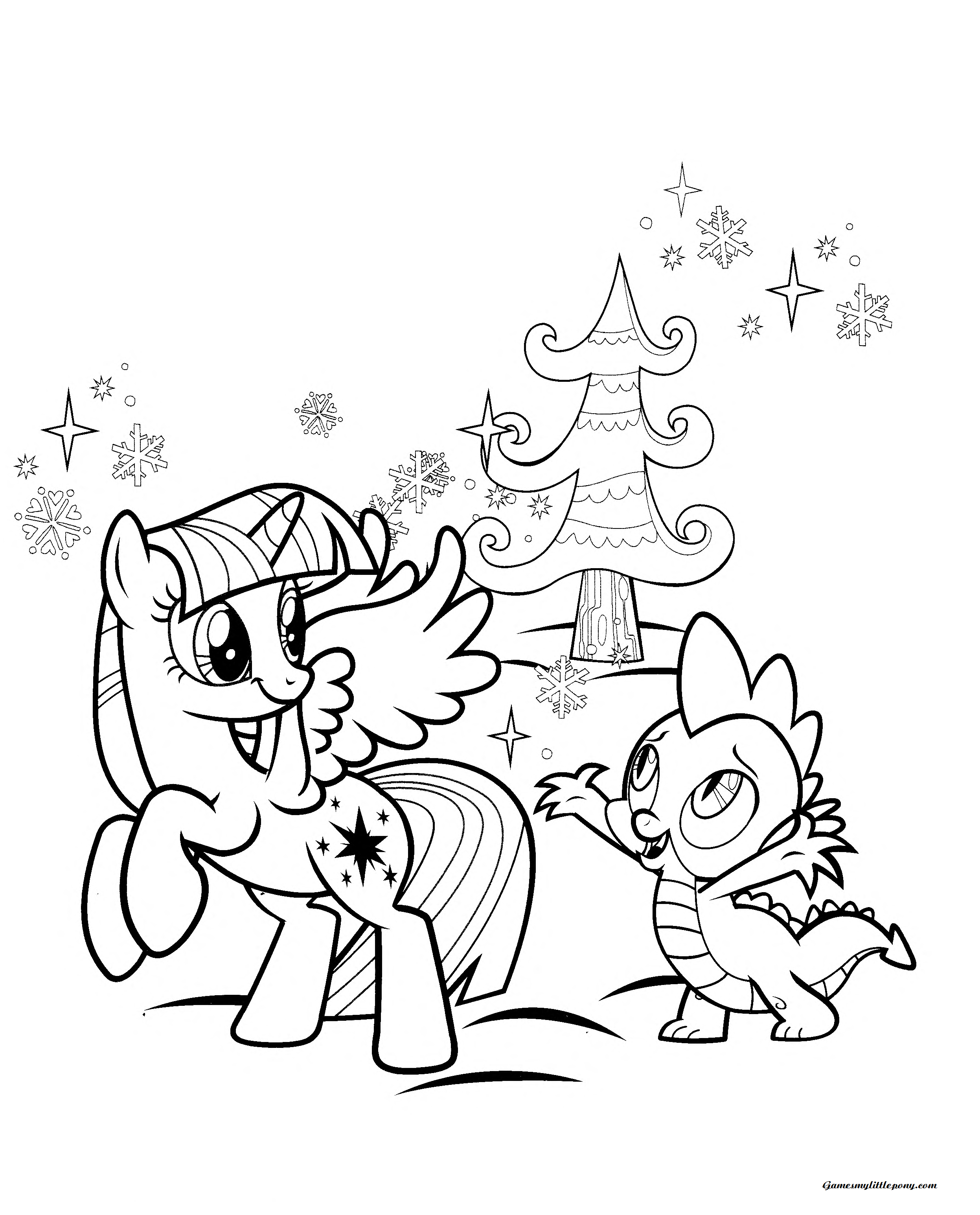 Spike and Applejack Joke Coloring Page