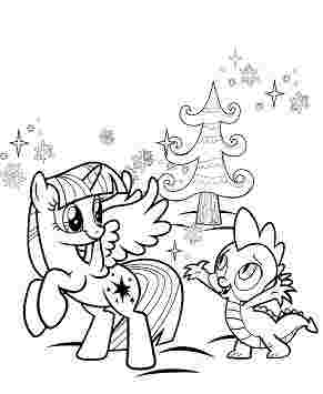 Spike and Applejack Joke Coloring Page