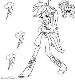 My Little Pony Girls Rainbow Dash Coloring Page