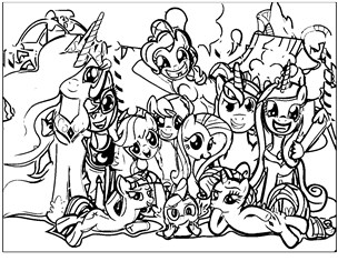 My Little Pony Family Coloring Page