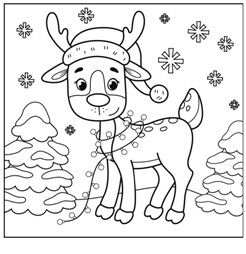 Christmas Reindeer Coloring Page