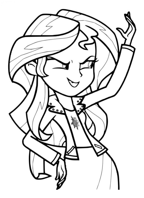 Rainbow Rocks Sunset Shimmer Character Coloring Page