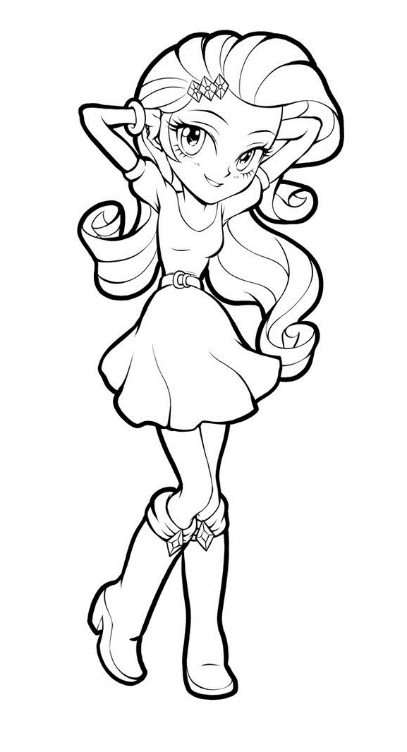 My Little Pony Equestria Rarity Character Coloring Page