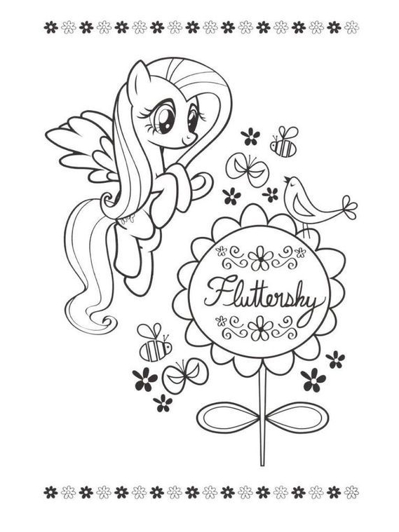 MLP Coloring Fluttershy Coloring Page