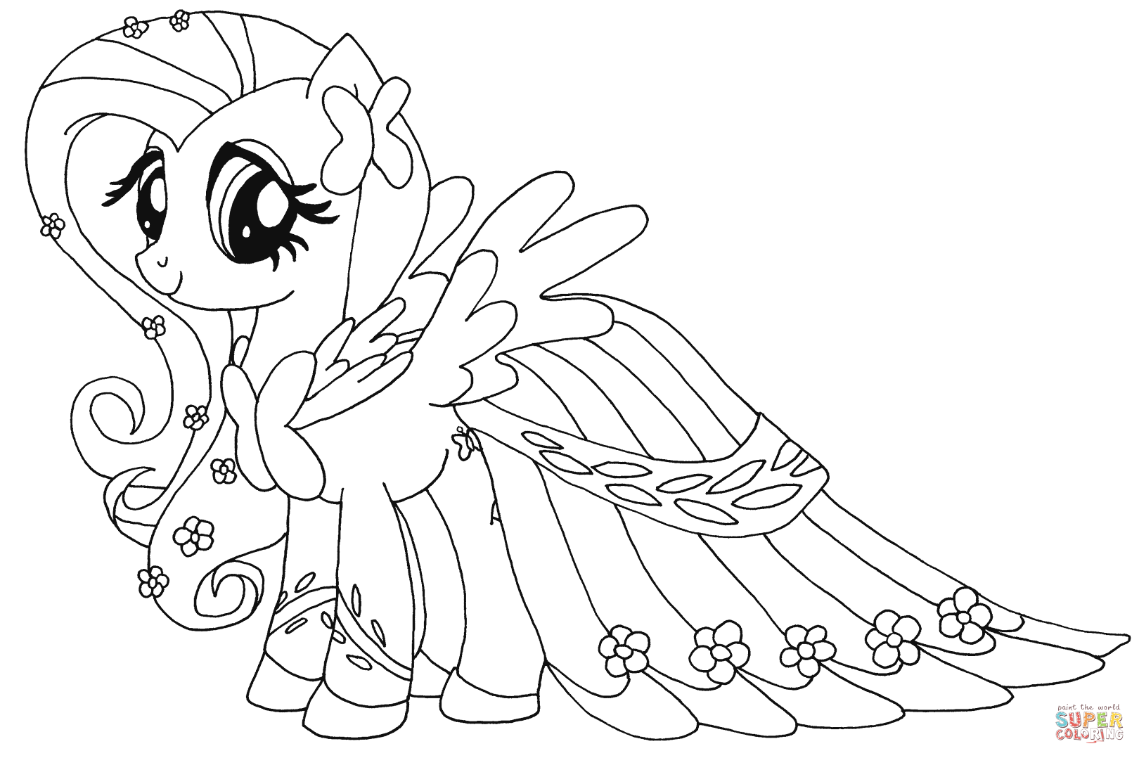 Hard My Little Pony Coloring Pages : Fluttershy from my little pony coloring page
