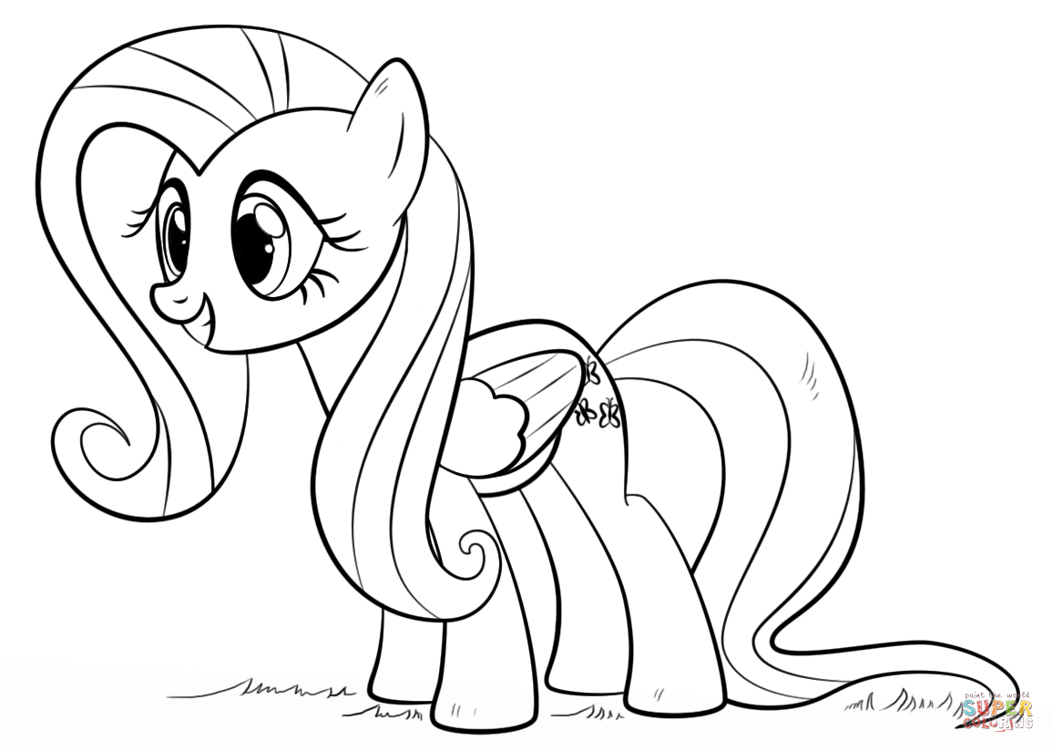 fluttershy pony from my little pony coloring page my little pony