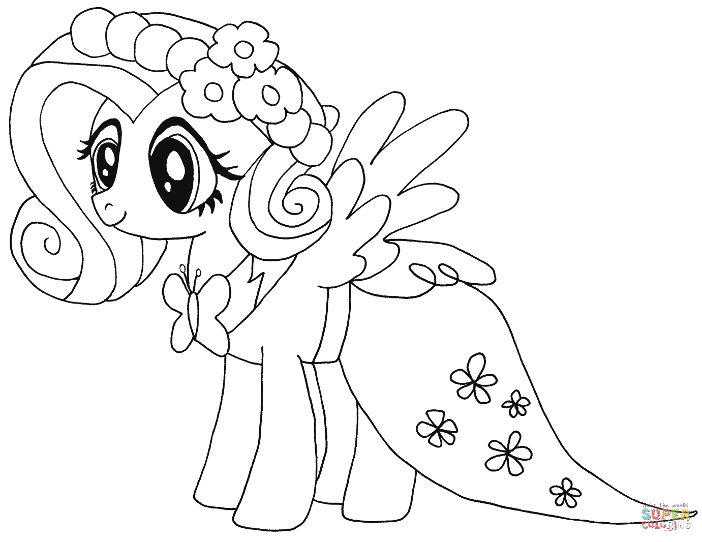 my little pony fluttershy from my little pony coloring page - Pony Coloring Pages
