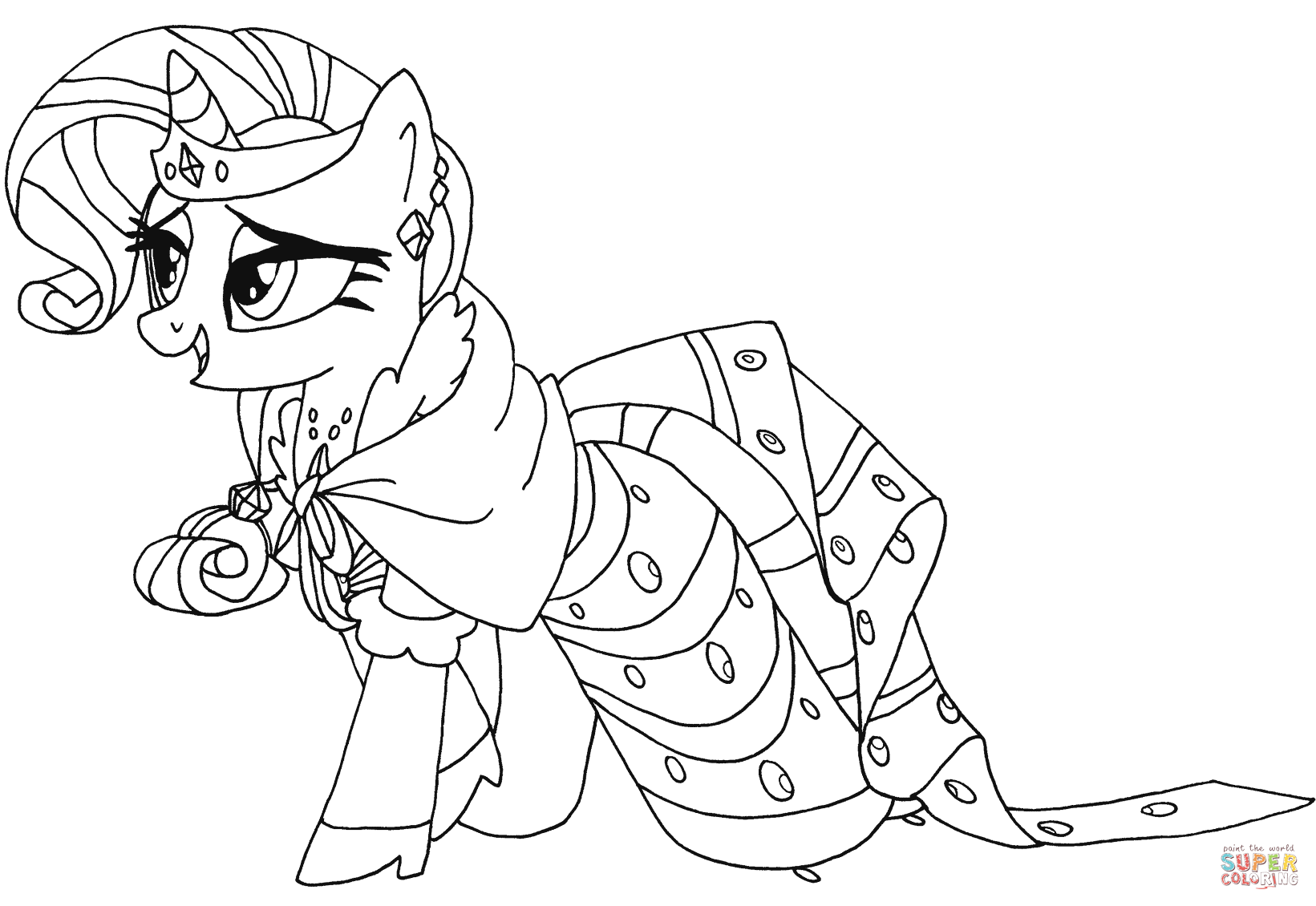 My little pony coloring pages rarity in dress -  My Little Pony Rarity From My Little Pony Coloring Page
