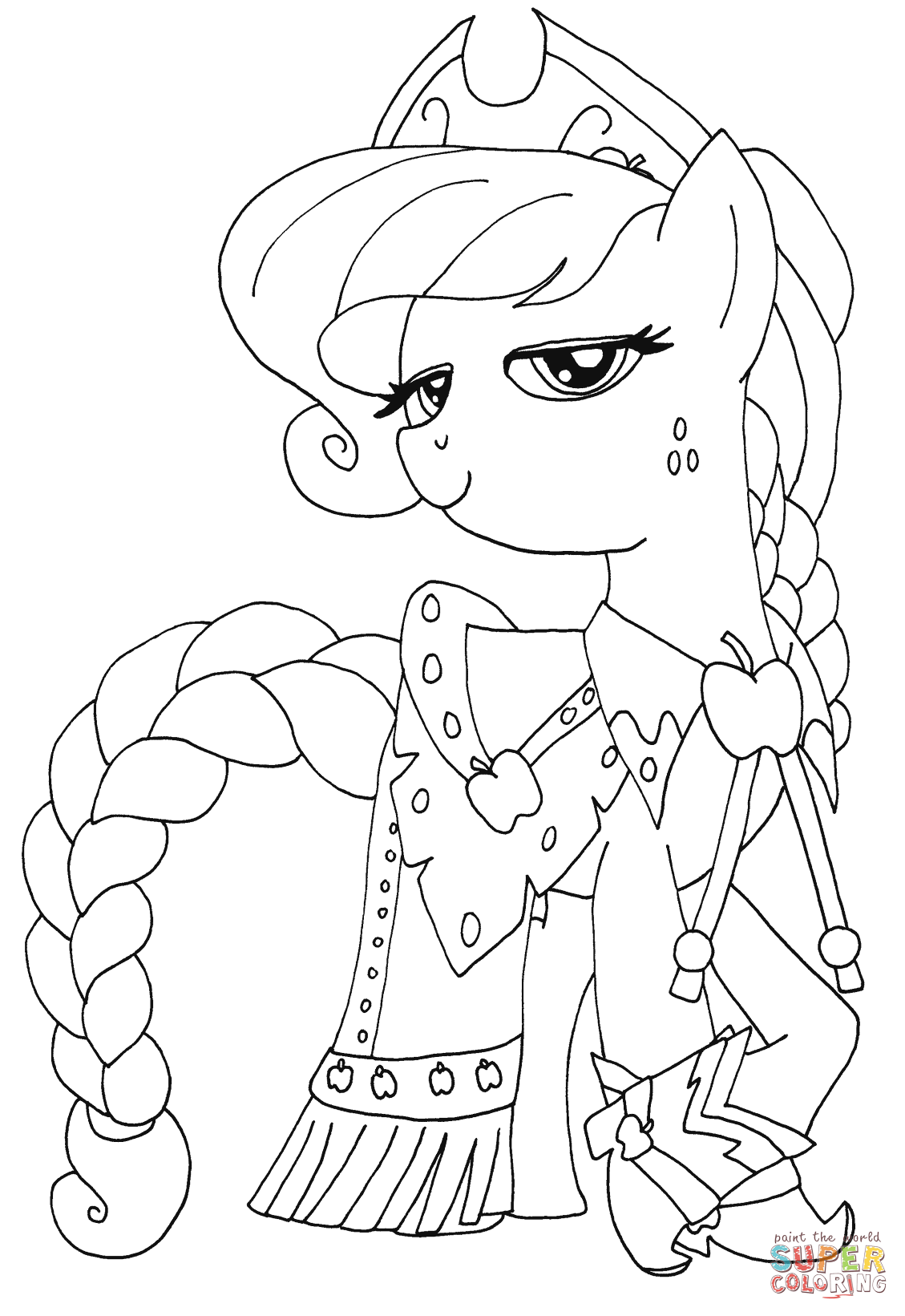 princess applejack from my little pony coloring page my little