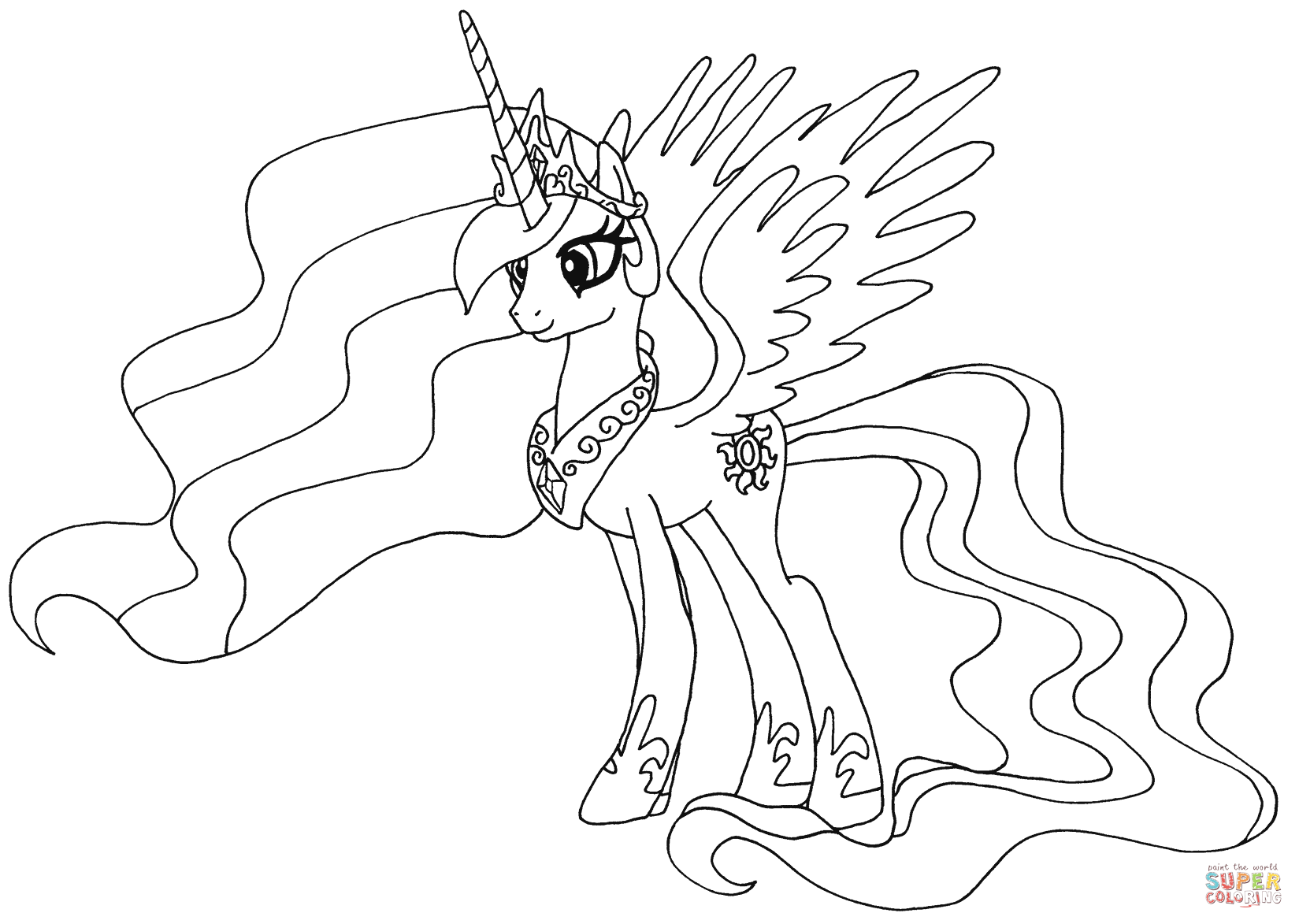 Coloring Pages Princess Pony : Princess celestia from my little pony coloring page