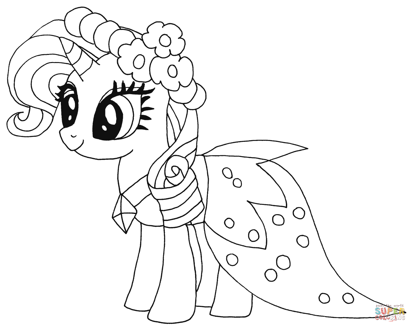 Princess Rarity from My Little Pony Coloring Page