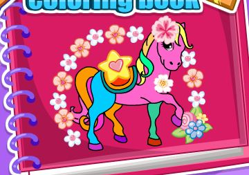 Horse And Unicorn Coloring Book Game