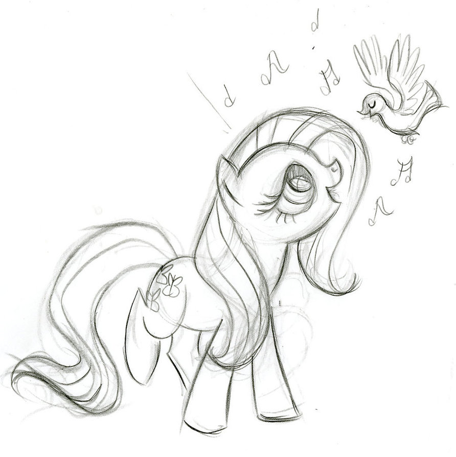 My Little Pony Fluttershy And Bird Coloring Page