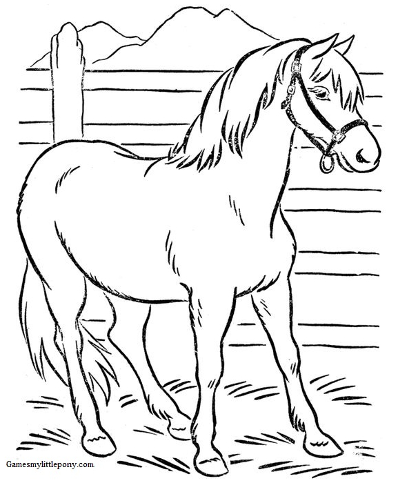 Horse Coloring In Farm Coloring Page