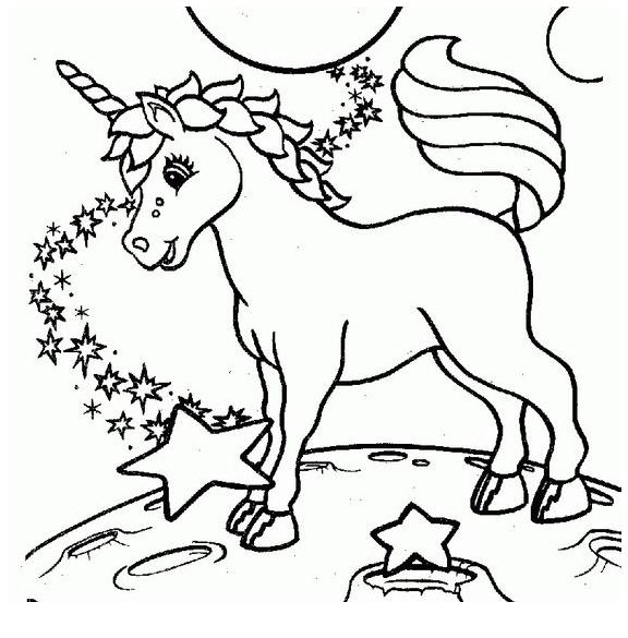 Happy Unicorn Coloring Page