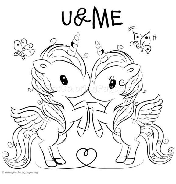 Friends Unicorns  Coloring Page