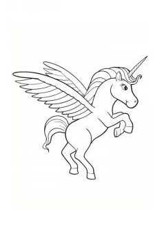 Unicorn Coloring Flying Coloring Page