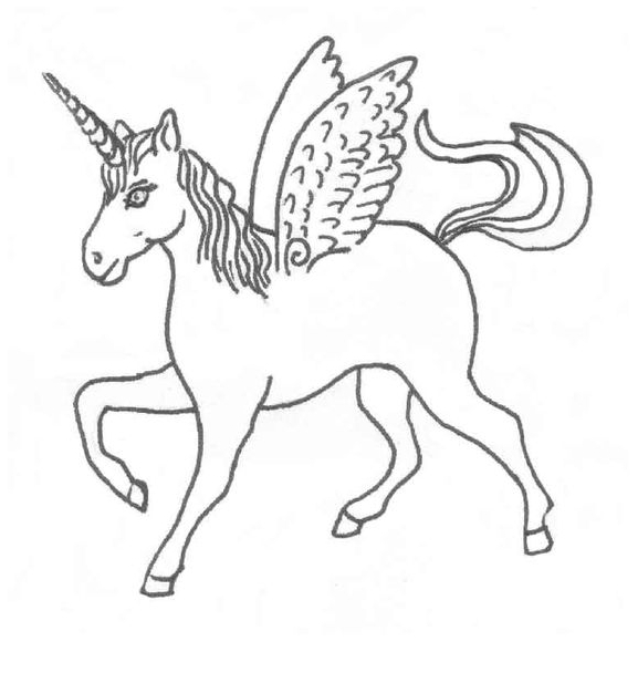 Unicorn Coloring walks Coloring Page