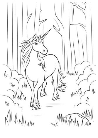Unicorn Coloring and Walk  Coloring Page
