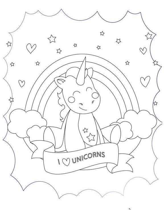 I Love Unicorn  Coloring Page